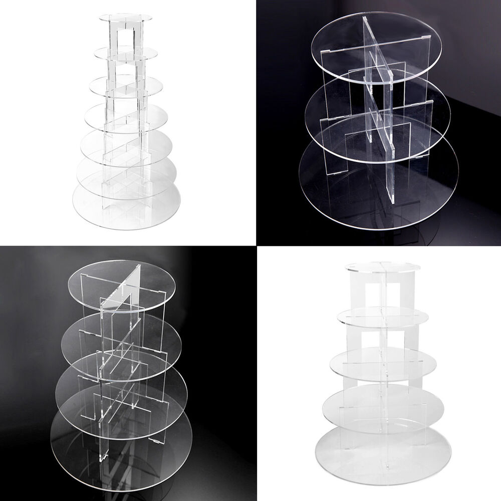 3 7 Tier Crystal Clear Acrylic Round Cupcake Stand Hotle