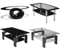 Black Glass Coffee Table Contemporary Modern Oval Living ...
