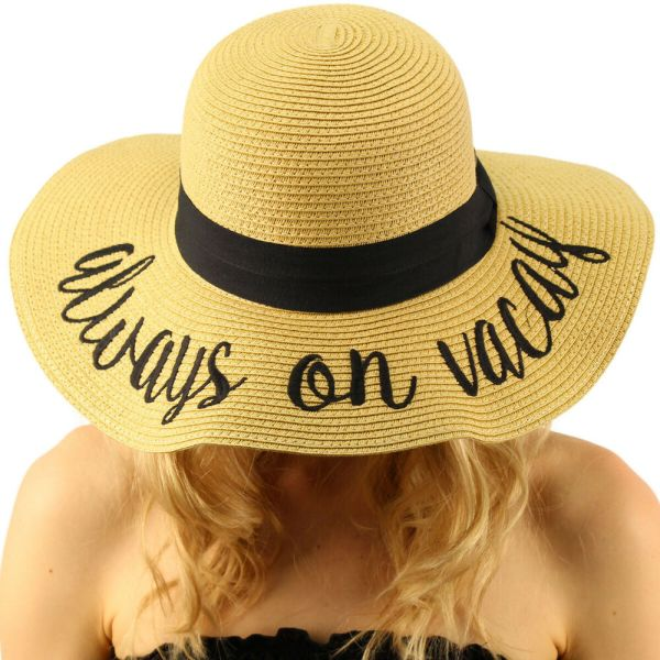 "Fun Verbiage Elegant Wide Brim 4"" Summer Derby Beach Pool"