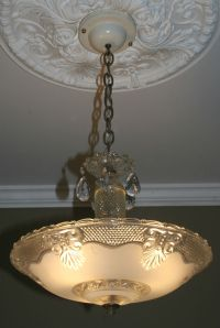 Antique vintage glass deco light fixture ceiling ...