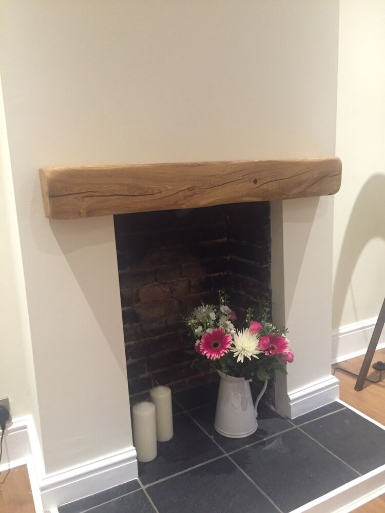 Rustic Oak Beam Floating Shelf Mantle Piece Fireplace