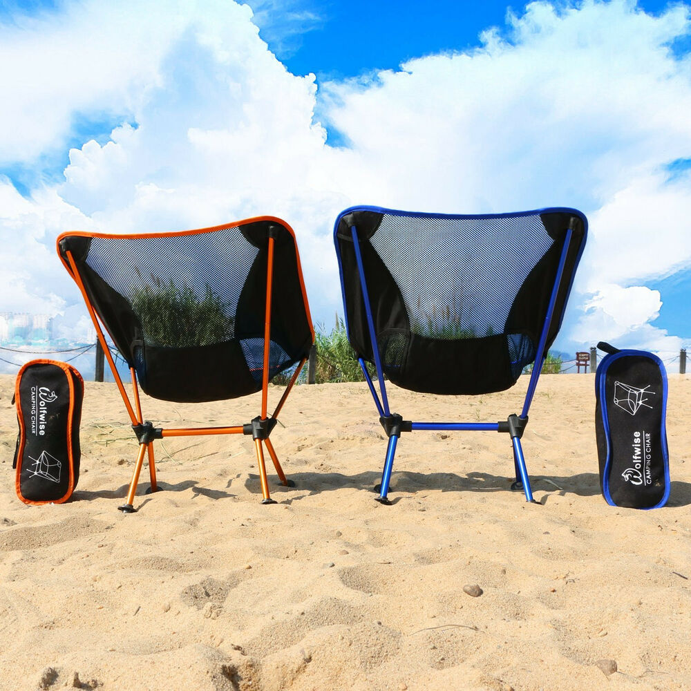 portable picnic chair chairs to put in bedroom wolfwise folding camping backpack carry bag carabiner bbq beach | ebay