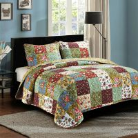 "3 Piece KING ""VINTAGE GARDEN"" Quilted Bedding SET ..."