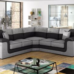 L Shaped Black Leather Sofa Set Good Conditioner For Huge Sale New Large Symphony + Fabric Corner ...