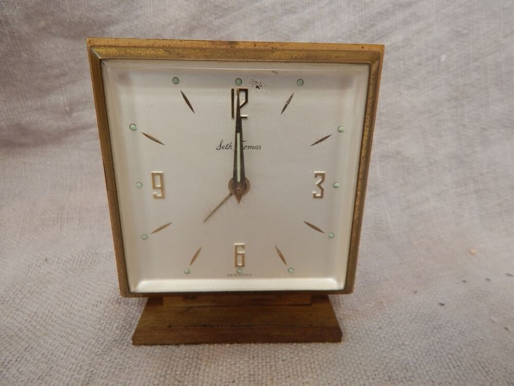 Vintage Seth Thomas Brass Small Desk Clock 3  eBay