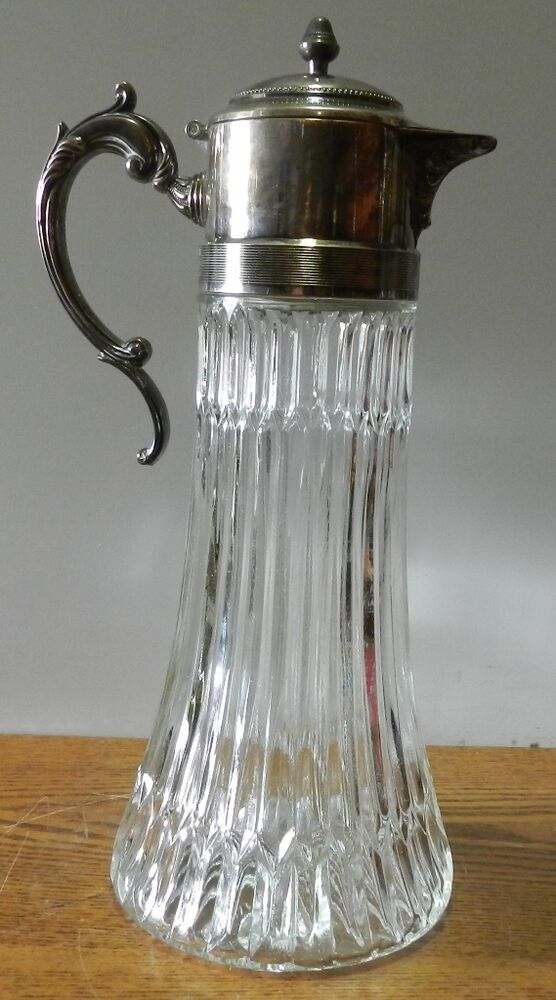 Vintage Glass Decanter Pitcher With Silver Plated Spout