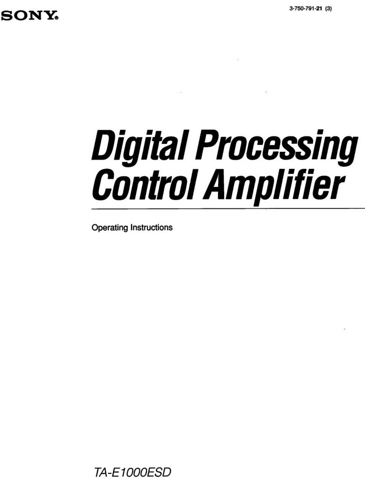 Sony TA-E1000ESD Amplifier / Receiver Owners Instruction