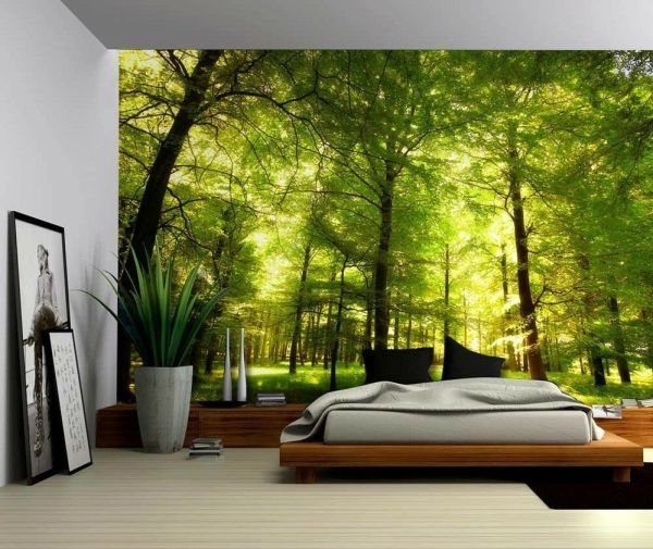 Green Forest Trees Nature - Large Wall Mural Removable