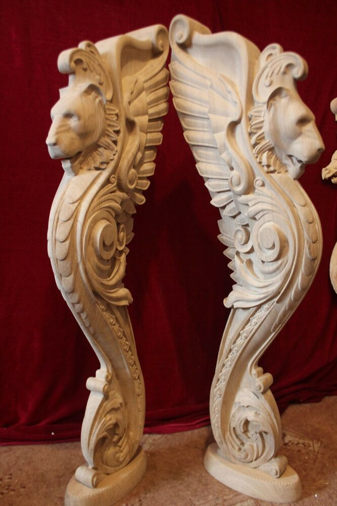 Wooden Stairs Baluster Newel Oak Carved Gryphon Statue