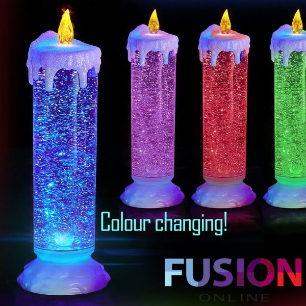 COLOUR CHANGING LED CANDLE FLICKERING LIGHT UP GLITTER