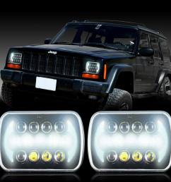 projector 5x7 led headlight replacement for jeep cherokee xj yj jeep xj halo headlights wiring [ 1000 x 1000 Pixel ]