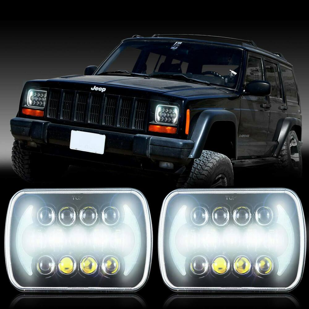 medium resolution of projector 5x7 led headlight replacement for jeep cherokee xj yj jeep xj halo headlights wiring