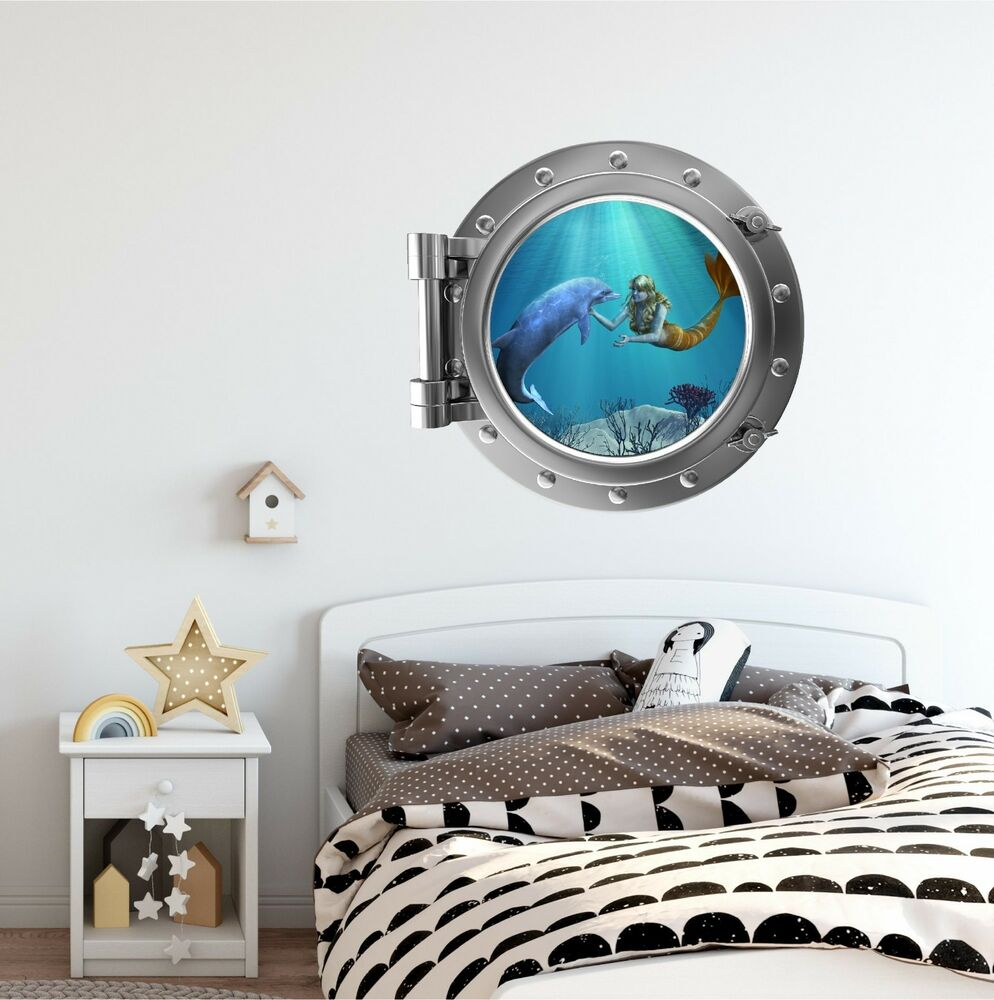 Mermaid Amp Dolphin 1 Port Scape Wall Decal Porthole Girls Room Decor Graphic EBay