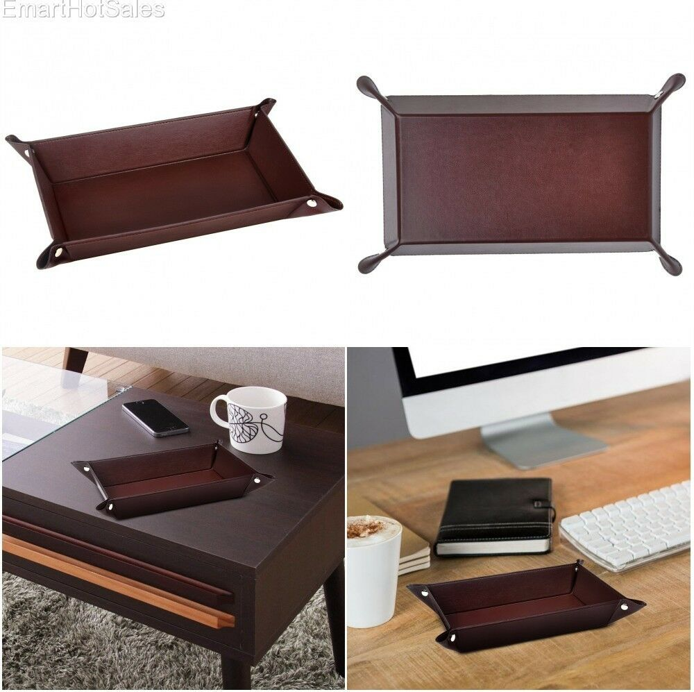 Mens Valet Tray PU Leather Watch Coin Office Items Desk