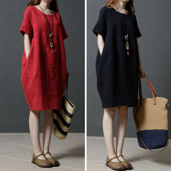 67d89131a9b ... Shift Dress Black L In · Size Women Casual Loose Dress Cotton Linen  Tunic
