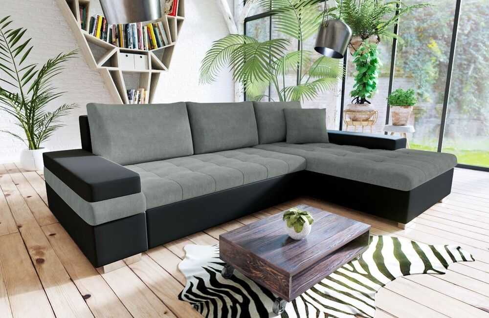 leather and fabric sofa in same room lay z boy bangkok pu corner with bed storage details about black grey white
