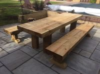 Garden Furniture Timber Sleeper Table And Bench Set