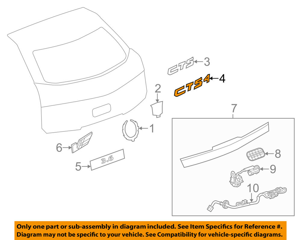 hight resolution of details about cadillac gm oem 08 14 cts trunk lid emblem badge nameplate 25789084