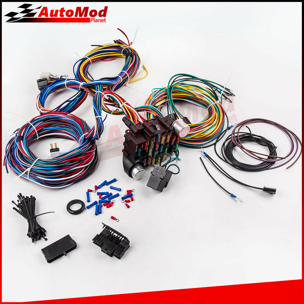 medium resolution of details about 21 circuit wiring harness for chevy mopar ford hotrod universal extra long wires