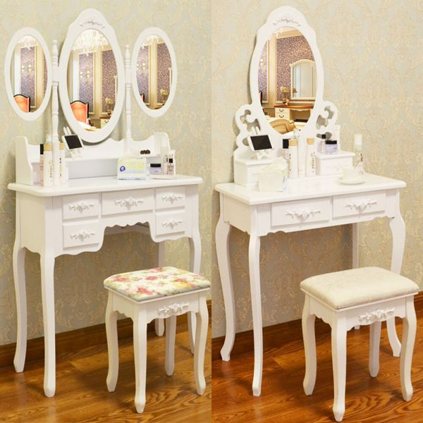 White Dressing Table Vanity Makeup Desk With 4 7