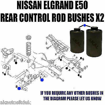 medium resolution of fits nissan elgrand e50 rear trailing lateral track control arm rod bushes 7 8