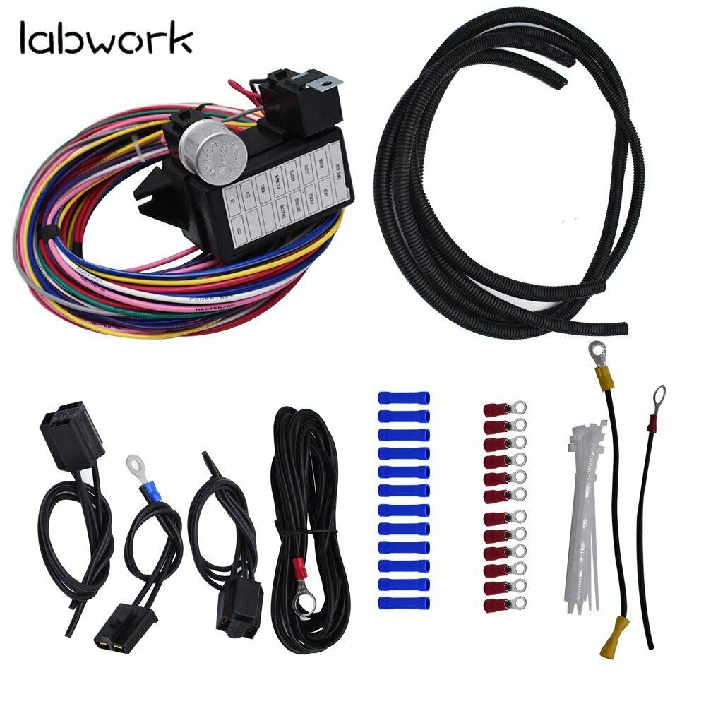hight resolution of details about 12 circuit universal wire harness 14 fuse 12v street hot rat muscle car hot rod