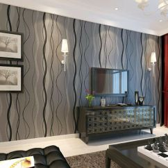Wallpaper Living Room Wall Very Small And Kitchen Ideas Black Grey Wave Striped Stripe Curve Feature Bedroom Details About