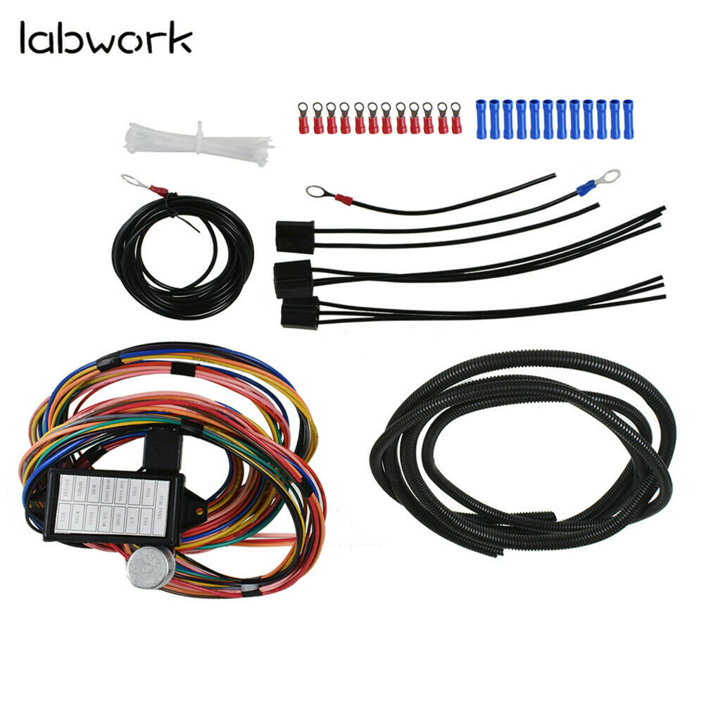 medium resolution of details about 14 circuit universal wire harness 14 fuse 12v street hot rat muscle rod wiring