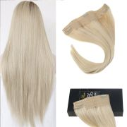 blonde invisible halo hair weft