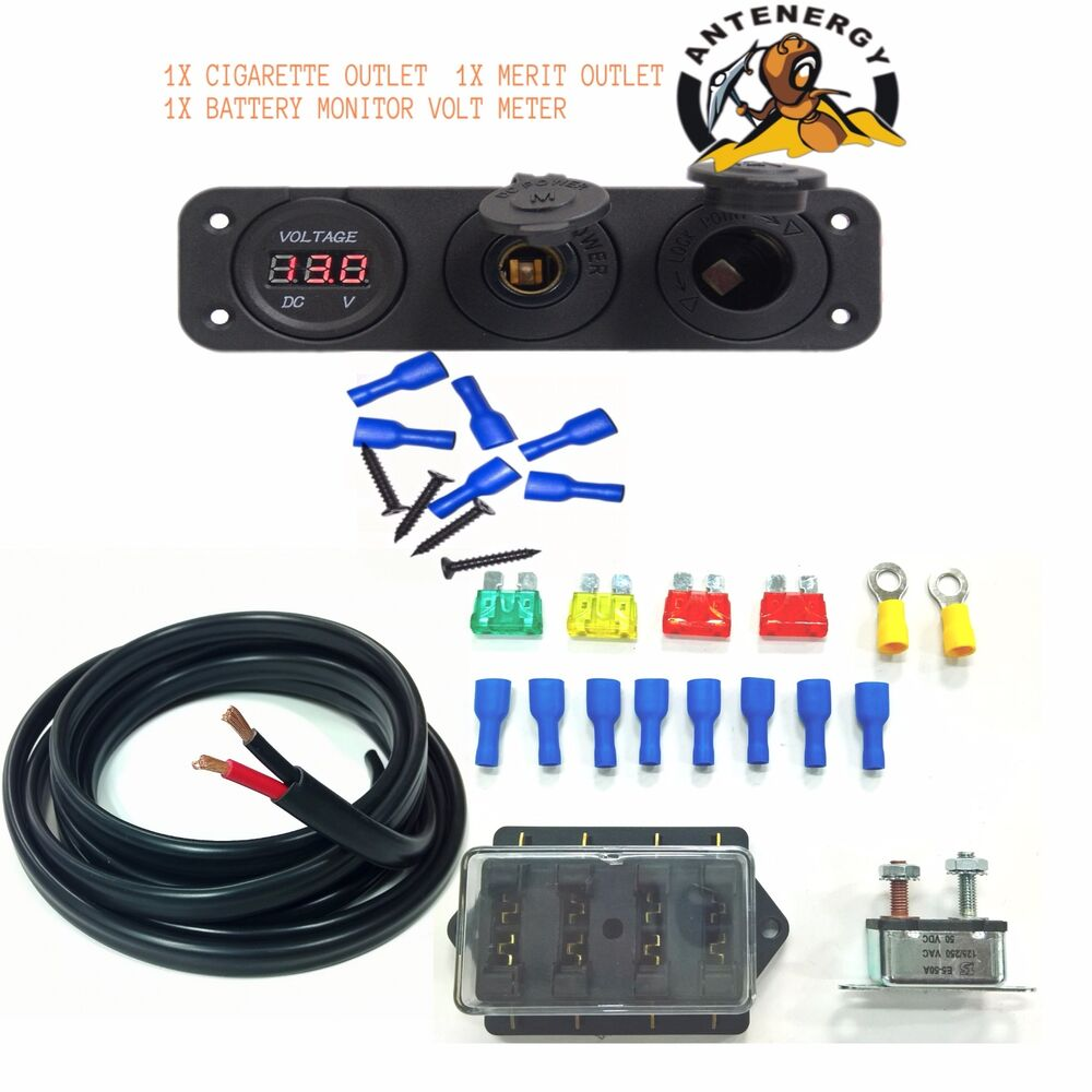 hight resolution of details about 12v 24v dual battery box diy kit 10m 6mm twin core 4 way fuse volt meter car