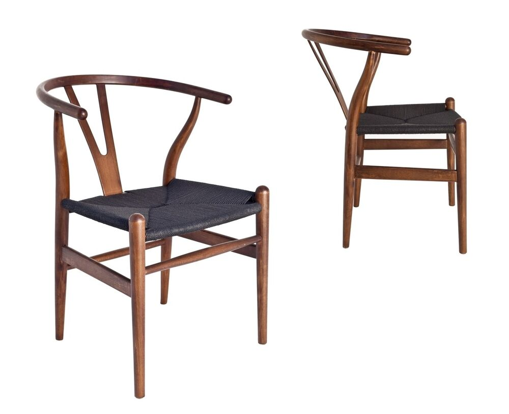 Wishbone Dining Chair Classic Mid Century Design Dark Walnut Wishbone Dining Chair Black Seat 2x Pcs Ebay