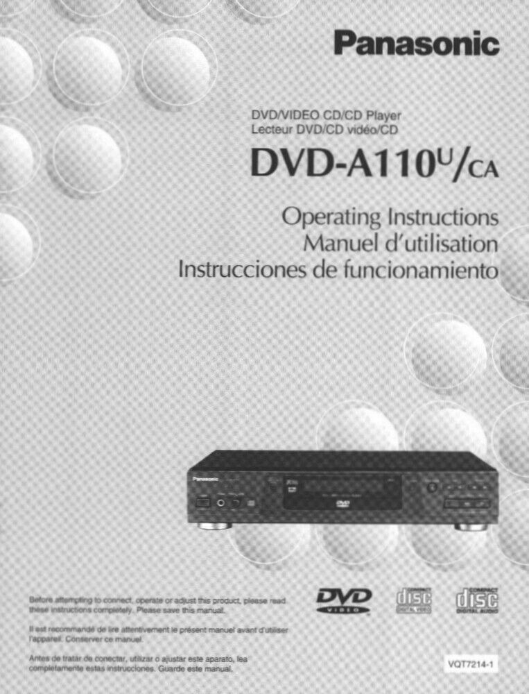 Panasonic DVD-A110U DVD Player Owners Instruction Manual