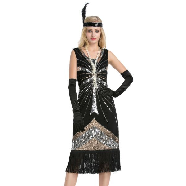 Women' Vintage 1920s Style Gatsby Sequin Flapper Dress