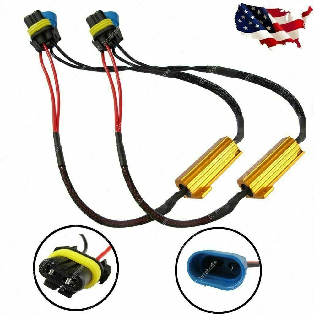 medium resolution of details about 9006 9005 9012 led headlight canbus error free anti flicker resistor canceller