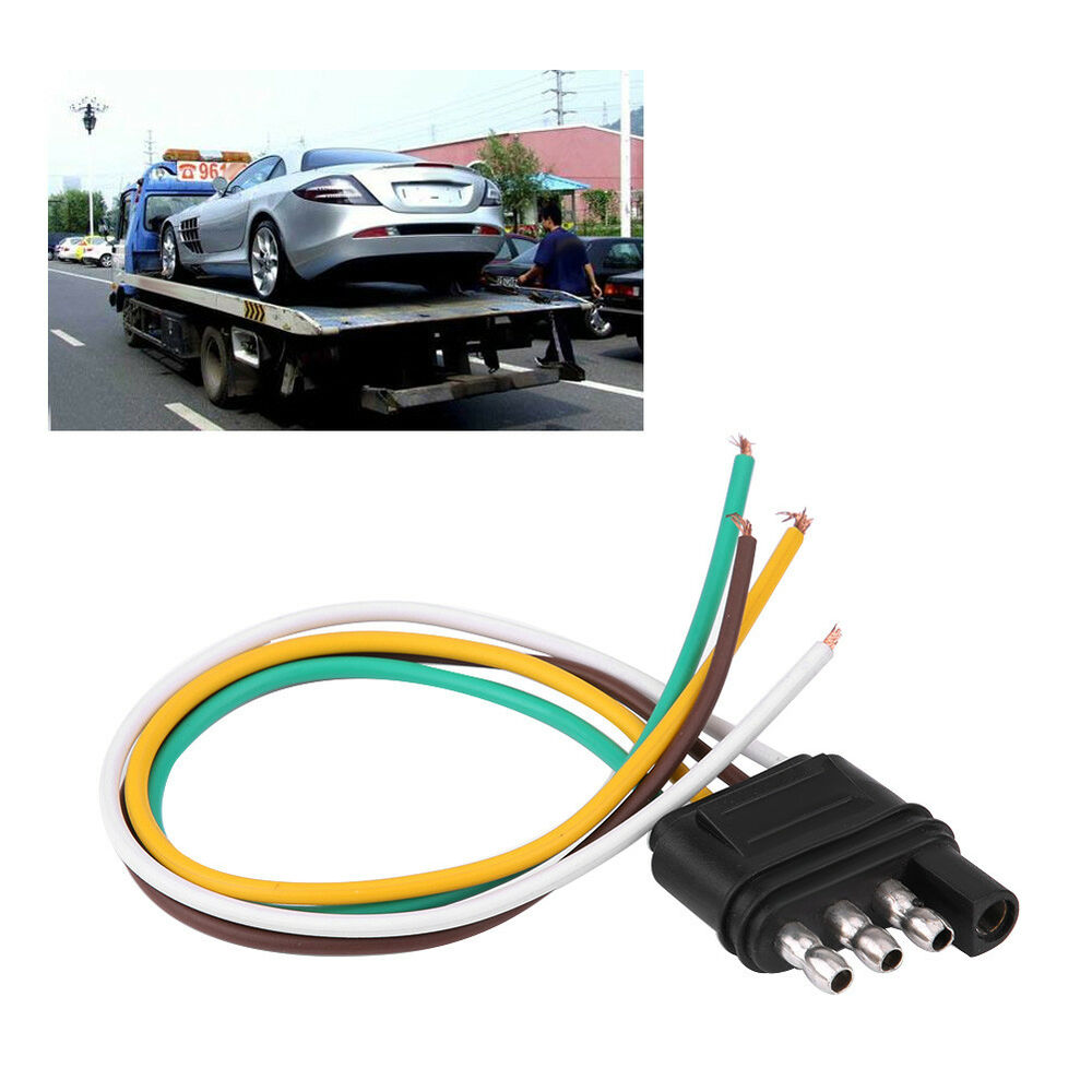 hight resolution of details about 4 pin trailer wiring harness extension plug flat wire connector adapter socket