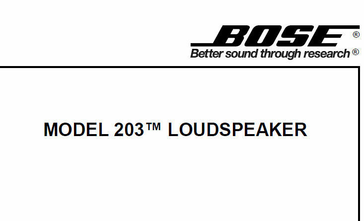 BOSE MODEL 203 LOUDSPEAKER SERVICE MANUAL INC DIAGRAMS