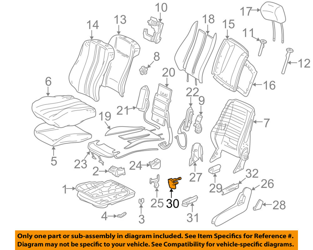 hight resolution of details about mercedes oem 96 03 e320 seat cover left 2029190720