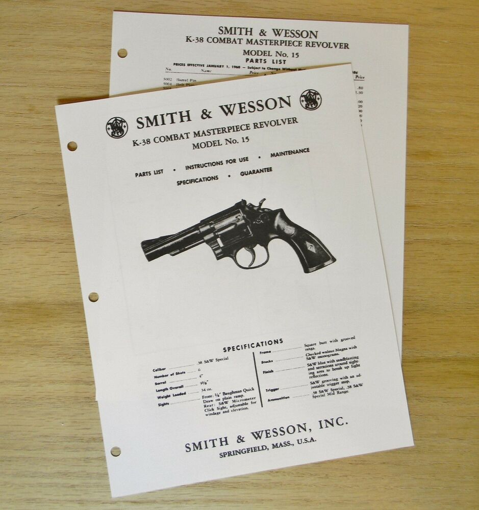 hight resolution of smith wesson k 38 combat masterpiece model 15 revolver manual sw8