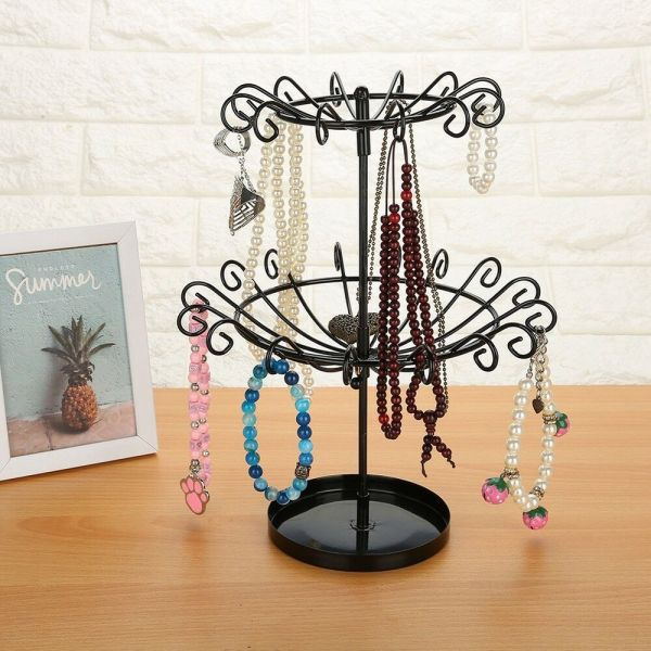 Metal Rotating Jewellery Display Stand Earrings Necklace