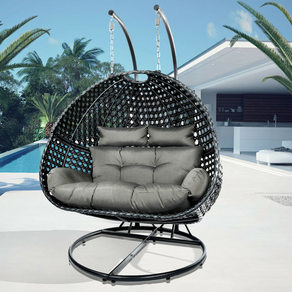 Double Egg Chair Tuansheng Sturdy Xxl Size Black Double Seat Swing Chair Hanging Pod Egg Wicker Ebay