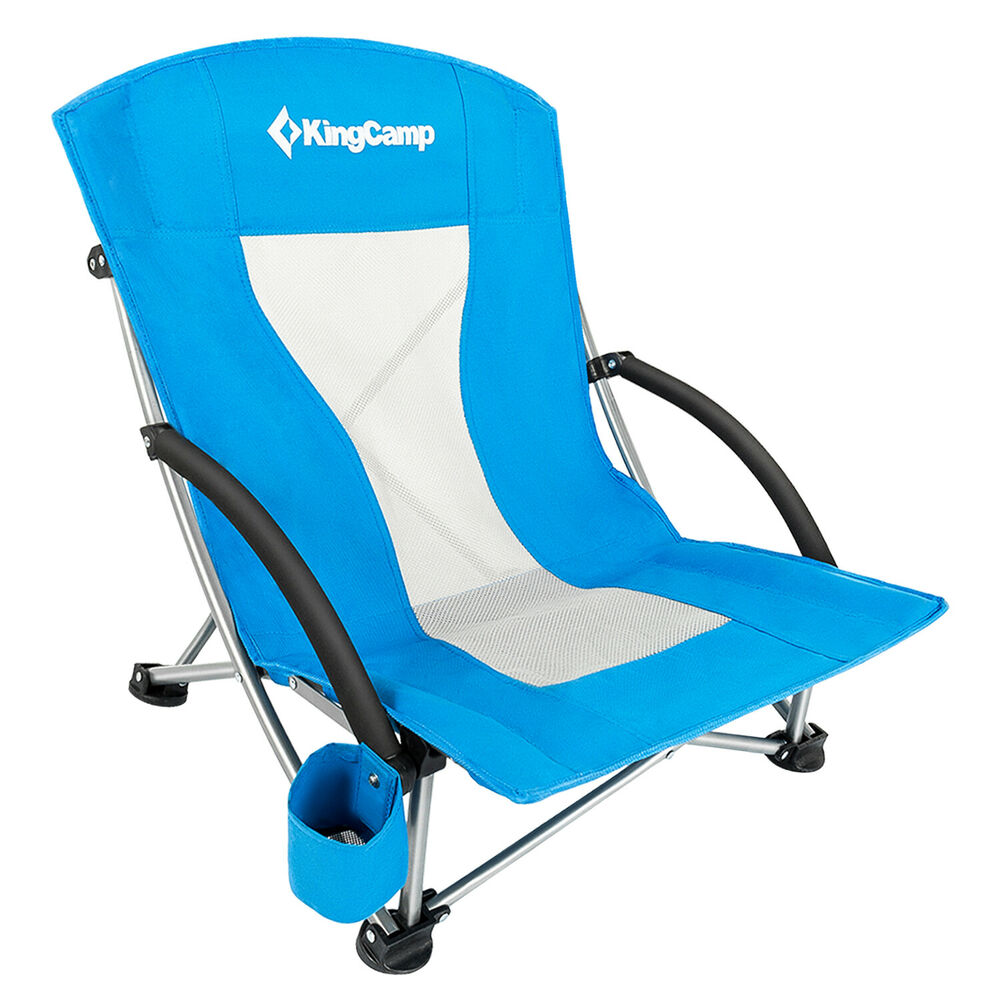Portable Beach Chair Kingcamp Low Sling Beach Chair Folding Cup Holder Portable Yard Outdoor Seat Ebay