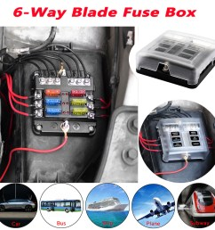 details about universal 6 way blade fuse box boat bus car 12v automotive holder wiring block [ 1000 x 1000 Pixel ]