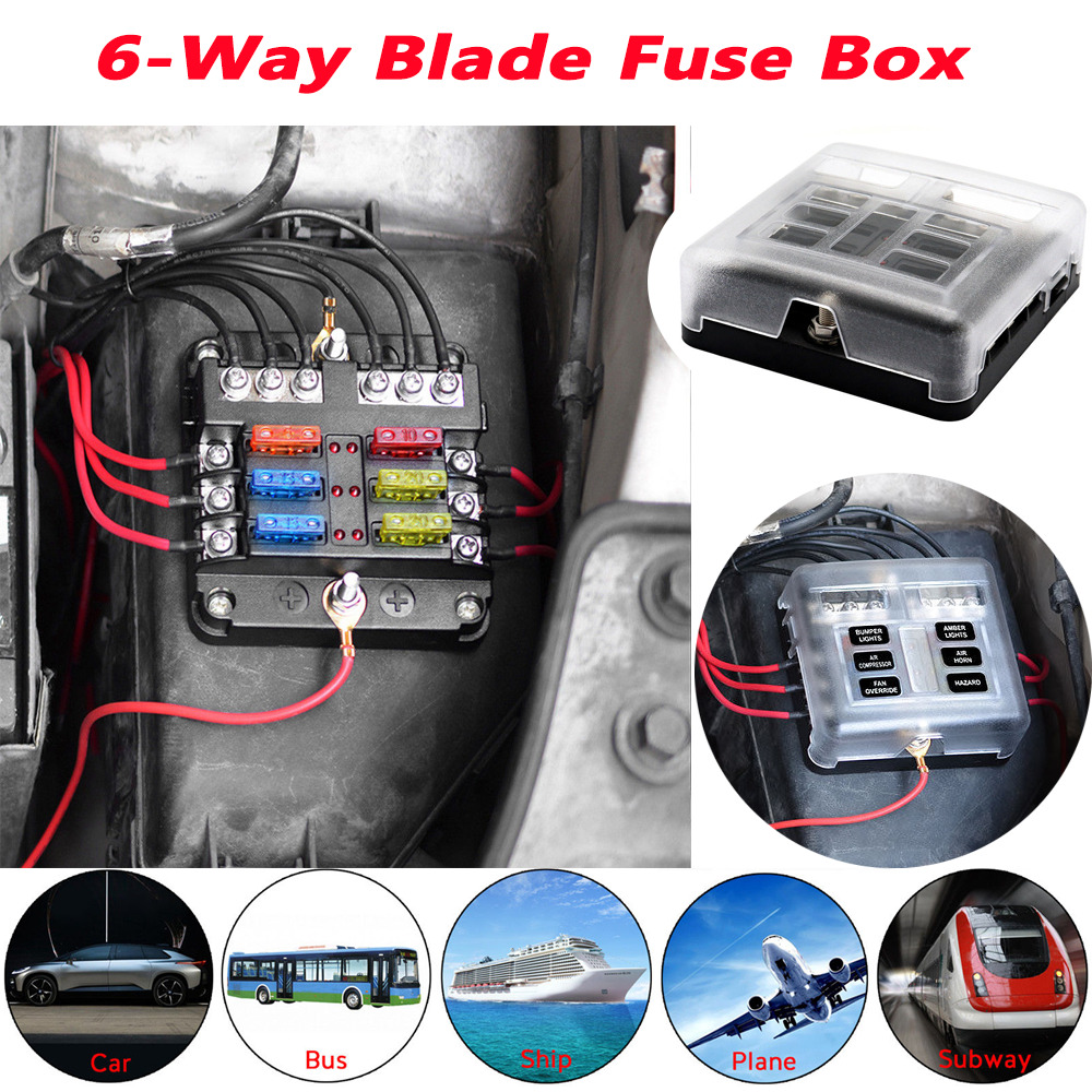 hight resolution of details about universal 6 way blade fuse box boat bus car 12v automotive holder wiring block