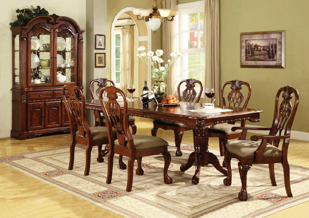 Brussels Formal Dining Room 7 piece Furniture set Traditional Dark Cherry Wood  eBay