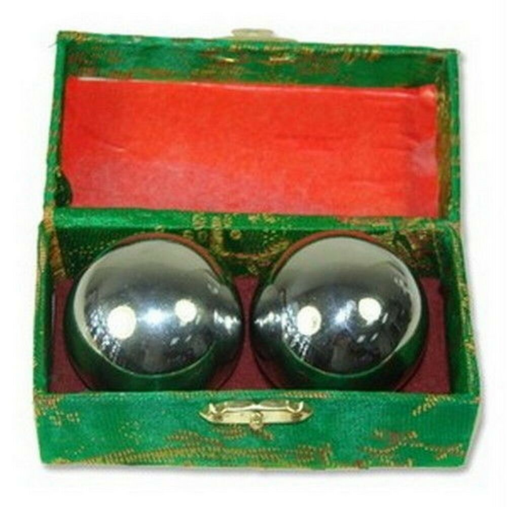 Baoding Balls Chinese Health Exercise Stress Relief Chrome