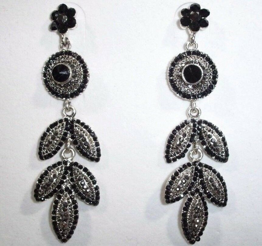 SPARKLING SMOKY, BLACK CRYSTAL CHANDELIER EARRINGS