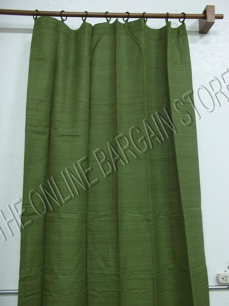 1 Pottery Barn ANNA Raw Silk Window Curtains Drapes Panels Ring Top 40x96 Green  eBay