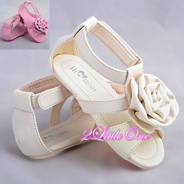 Rosette Sandals Shoes Toddler Size 6.5-9 Wedding Flower