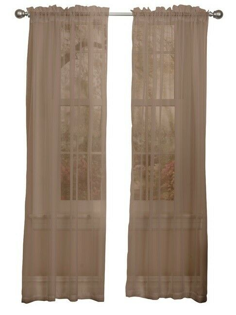 Brown Sheer Voile Window Curtain Panel Great Quality - 55