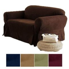 Sage Sofa Slipcovers Leather Supplier Malaysia 2-pc Soft Micro Suede Couch Loveseat Slip Cover Brown ...